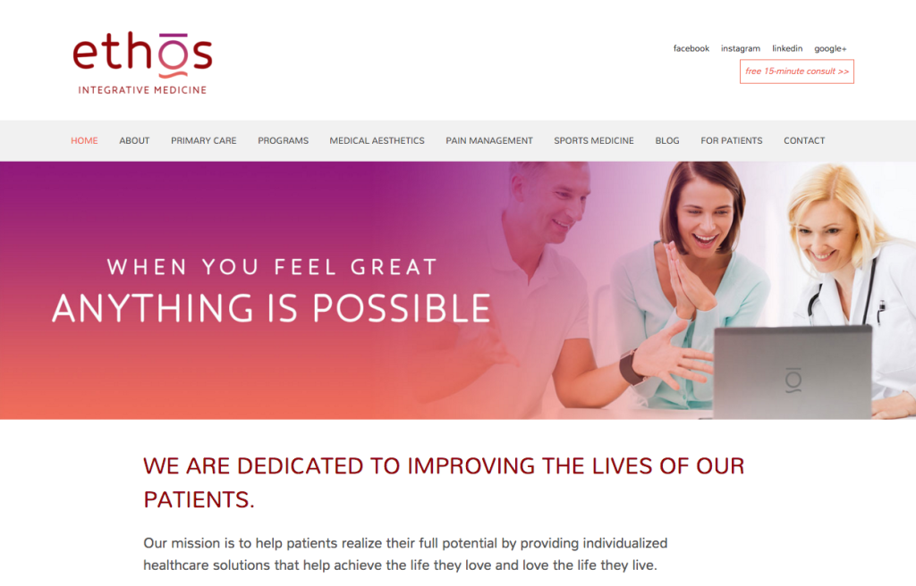 Ethos Integrative Medicine - 7 day website
